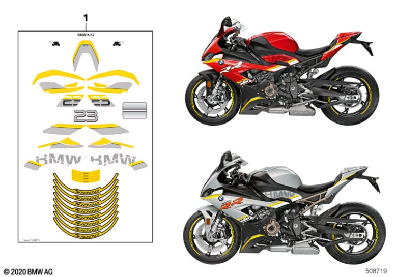 2020+ BMW S1000 RR (K67) DECAL SET RR Part Number: 77312473443