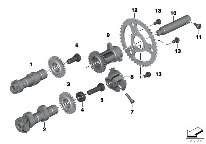 R 1200 GS, 2013- Water Cooled (USA) Camshaft, pulley, intermediate shaft, Intermediate shaft, left, Part Number: 11318544977