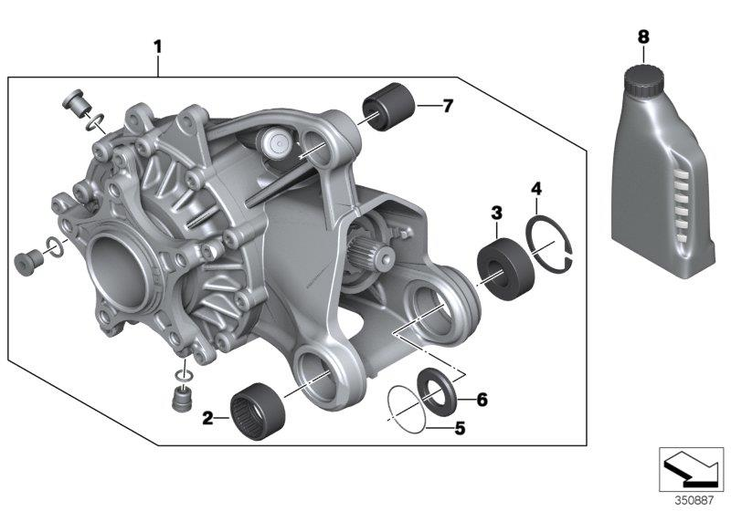 R 1200 GS, 2013- Water Cooled (USA) Right-angle gearbox, rear, Right-angle gearbox, silver, Part Number: 33748544982