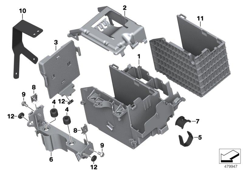 R 1200 GS, 2013- Water Cooled (USA) Battery tray, Battery tray, Part Number: 61218522872
