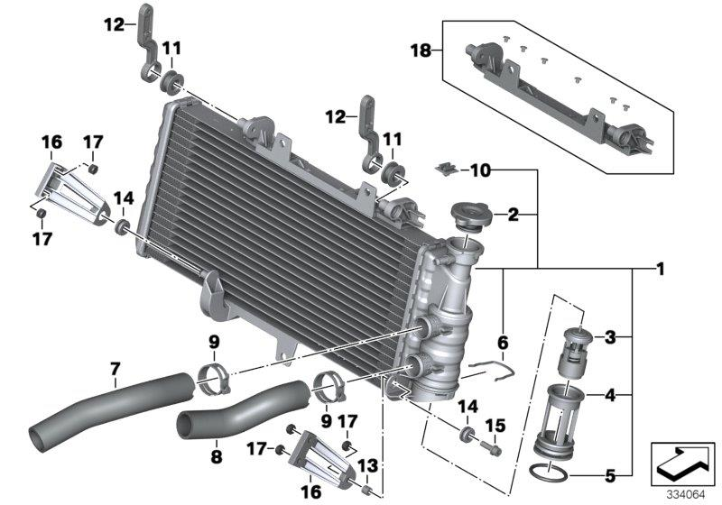 F 800 GS Adventure, 2012-'15 (USA) Radiator, Rubber grommet, Part Number: 31421236240