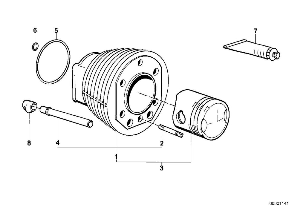 R 75 /7 (USA) Cylinder, O-ring, Part Number: 11111337567
