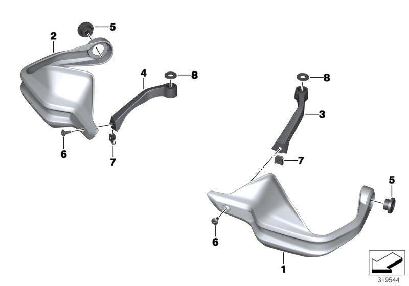 R 1200 GS, 2013- Water Cooled (USA) Hand protector, Hand protector left, Part Number: 46638523431