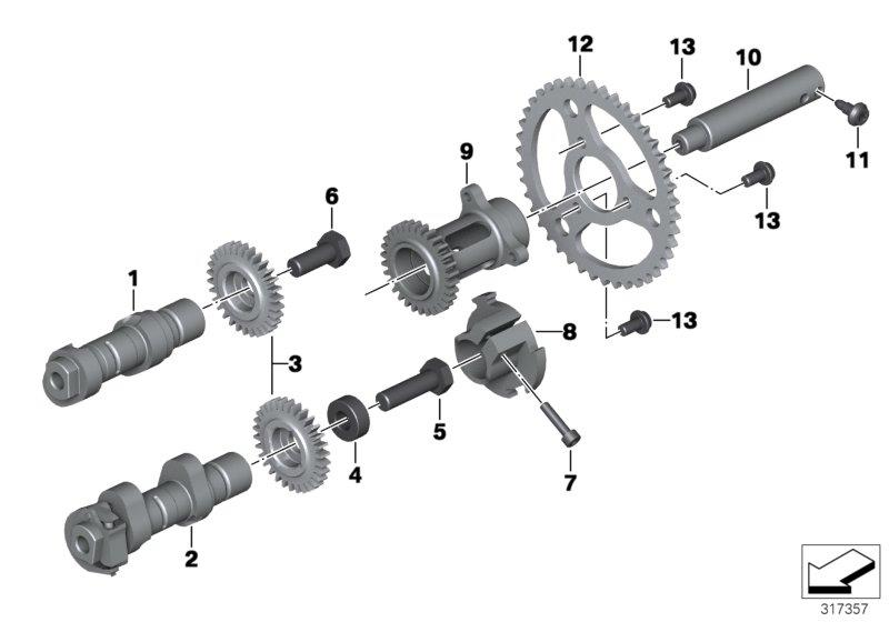 R 1200 GS, 2013- Water Cooled (USA) Camshaft, pulley, intermediate shaft, Intermediate shaft, right, Part Number: 11318544976