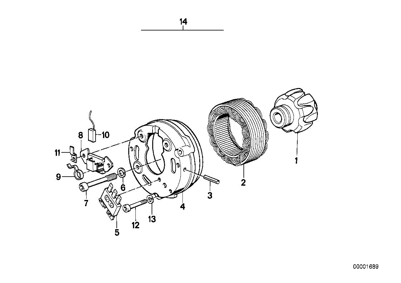 R 100 RT, 1979-'84 (USA) Alternator, individual parts, Cable terminal, Part Number: 12318002351
