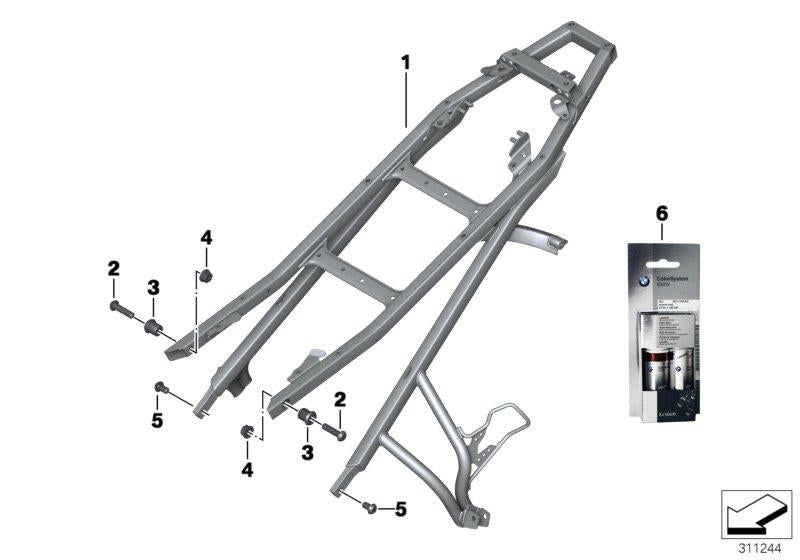 F 800 GS Adventure, 2012-'15 (USA) Rear frame, Touch-up stick set, CIP black matt, Part Number: 51912360754