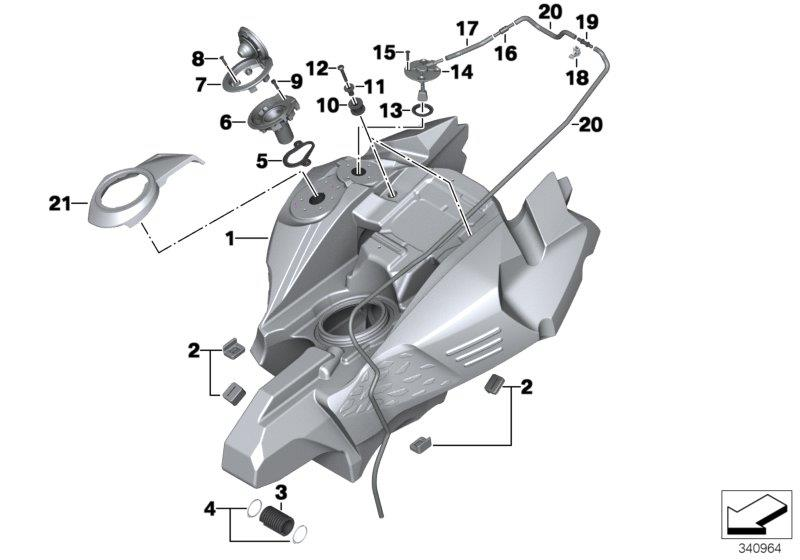 F 800 GS Adventure, 2012-'15 (USA) Fuel tank/mounting parts, Filler tube gasket, Part Number: 16117691509