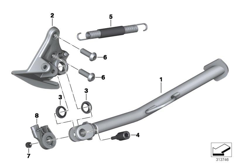 F 800 GS Adventure, 2012-'15 (USA) Side stand, Thread lock, medium-strength, Part Number: 83192210339