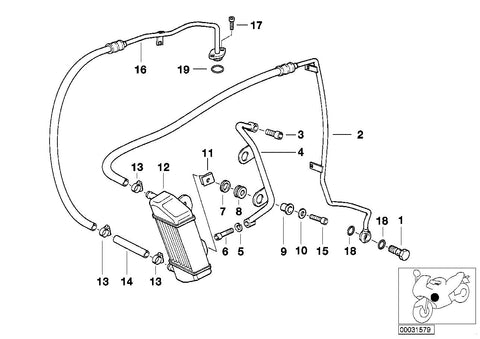 R 1100 R, 1995- (USA) Oil cooler/Oil cooling pipe, BRACKET RIGHT, Part Number: 17211341728