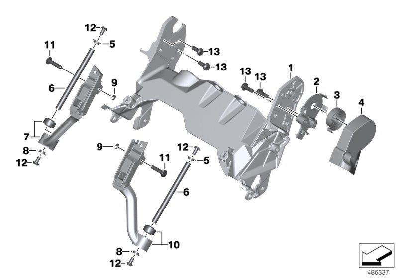 R 1200 GS, 2013- Water Cooled (USA) Windshield adjustment, Windshield bracket, right, Part Number: 46638524932