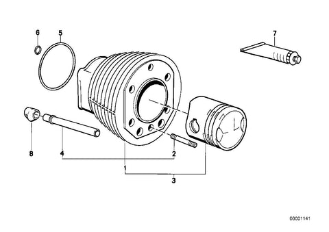 R 75 /7 (USA) Cylinder, Protection tube, Part Number: 11111262904