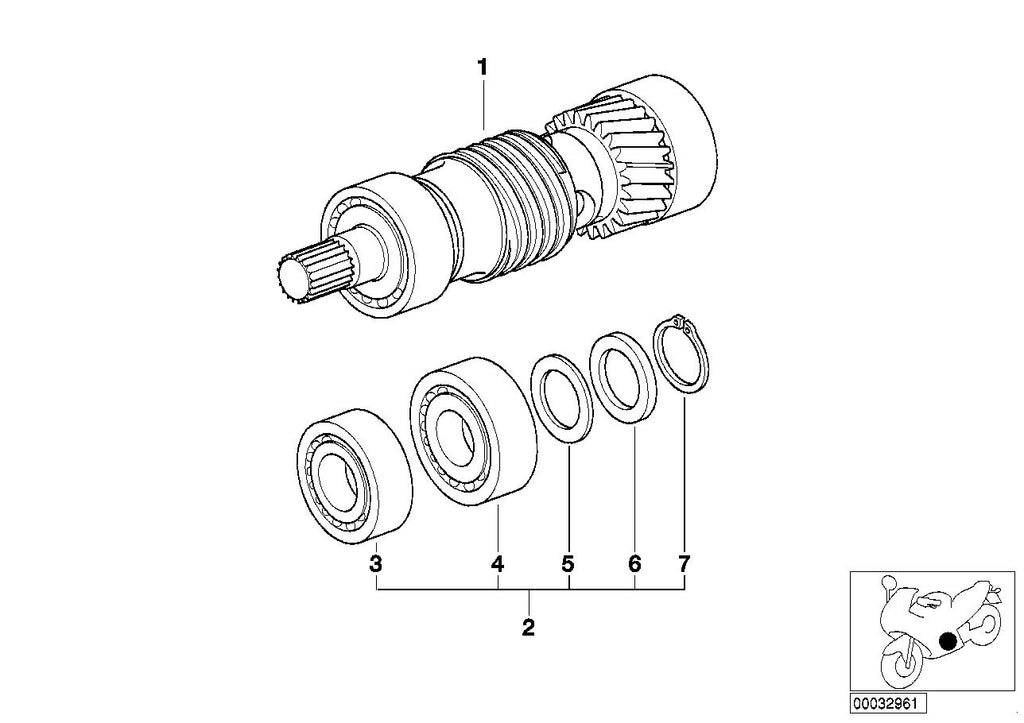 R 1100 R, 1995- (USA) 5-speed trans. drive shaft M 97, REPAIR KIT F FINAL DRIVE SHAFT BEARING, Part Number: 23002325604
