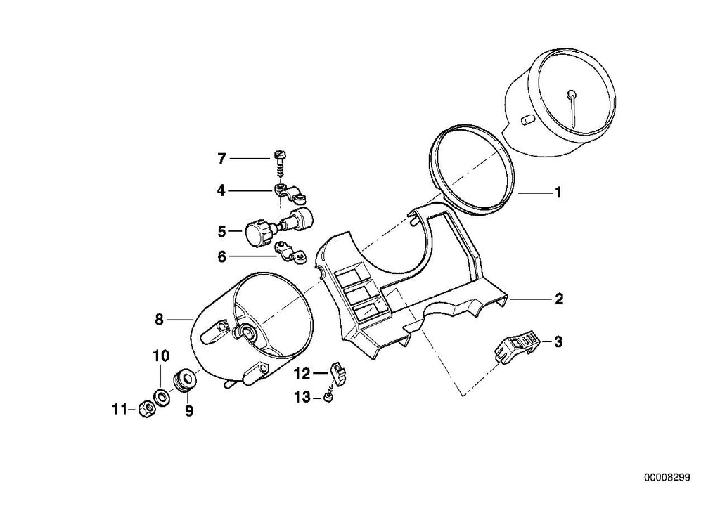 R 1100 R, 1995- (USA) Dashboard mounting parts, authorities, SUPPORT SHACKLE, Part Number: 62212306482