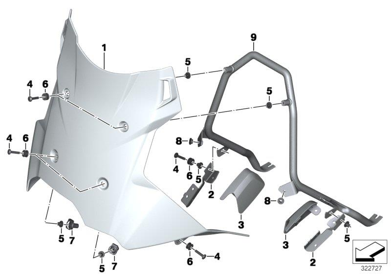 F 800 GS Adventure, 2012-'15 (USA) Windshield / mount, Socket with shoulder, Part Number: 46638535091