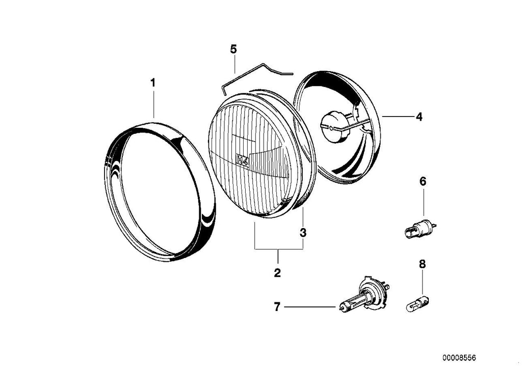R 1100 R, 1995- (USA) Single components for headlight, Reflector, Part Number: 63121243537