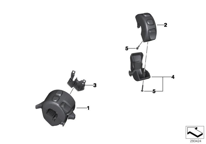 R nine T Urban G/S, 2017- (USA) Combination switch at handlebar, Combination switch right, Part Number: 61318546180