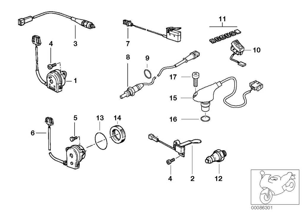 R 1100 R, 1995- (USA) Various switches, OIL PRESSURE SWITCH, Part Number: 11411342807