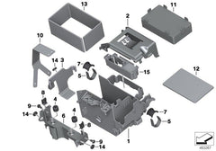 R 1200 GS, 2013- Water Cooled (USA) Battery tray, Rubber tension strap, Part Number: 61218533311