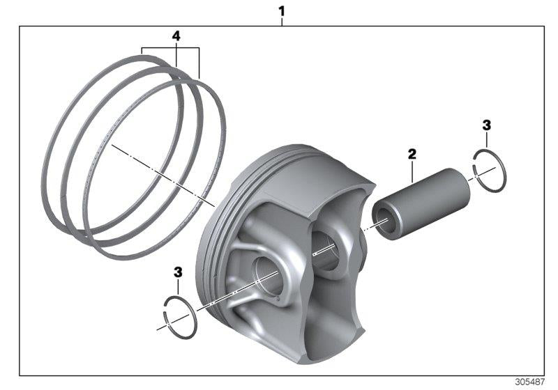 R 1200 GS, 2013- Water Cooled (USA) Piston with rings and wristpin, Piston, Part Number: 11258530237