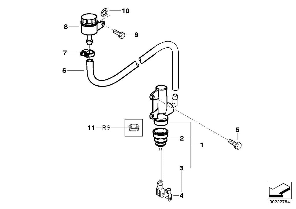 G 650 GS, 2011- (USA) Rear brake master cylinder w container, Fluid co –  MOTORRAD-ONE INC.