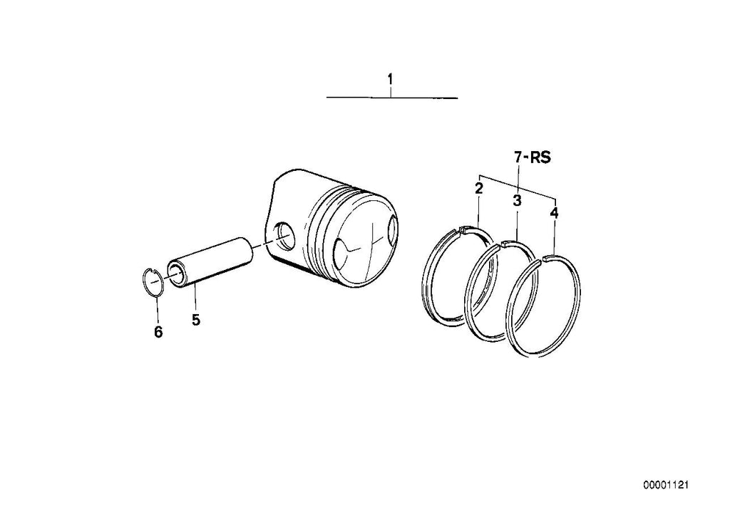 R 75 /7 (USA) Piston, single components, REPAIR KIT PISTON RINGS, Part Number: 11251256478