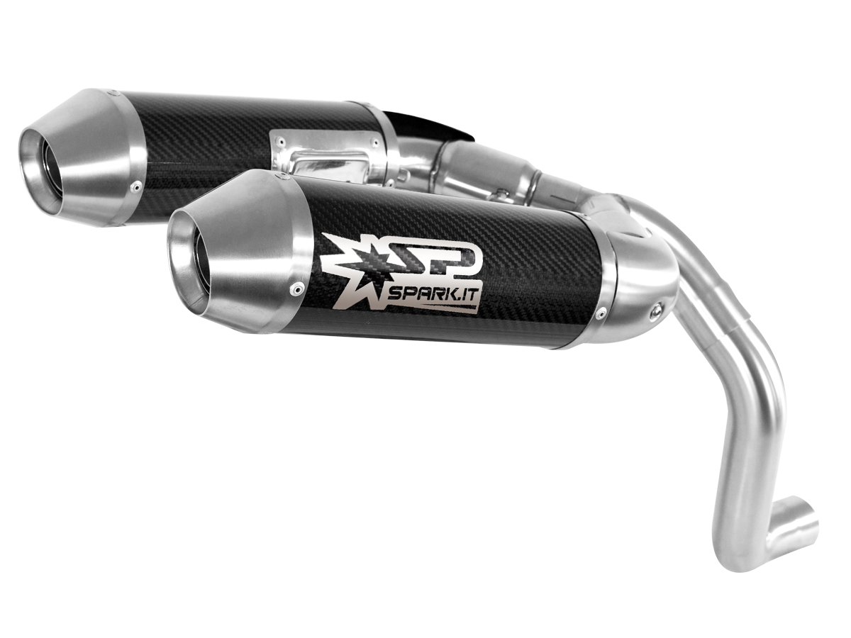 "Spark Ducati Monster 1100 EVO Carbon High ""Double-Round"" Semi-Full Exhaust System (11-13), Part Number: SP-GDU0829TOM+GDU0829R"