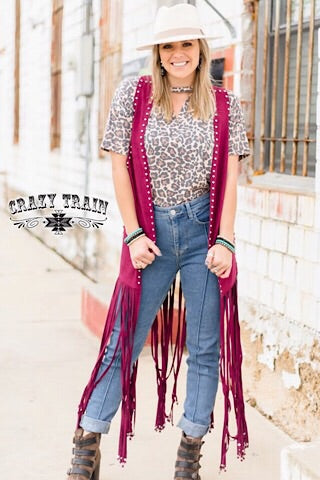 """WYOMING WINE"" STUDDED DUSTER - Coyote Blu"