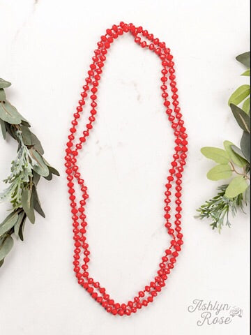 "60"" DOUBLE WRAP BEADED NECKLACE - TRUE RED - Coyote Blu"