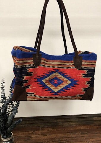 BOHO WEEKENDER BAG - RED/BLUE AZTEC - Coyote Blu