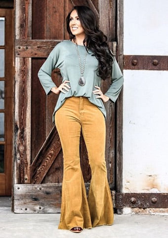 CORDUROY FLARE JEANS - MUSTARD