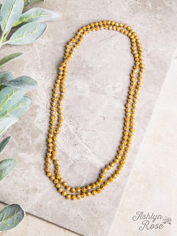 "60"" DOUBLE WRAP BEADED NECKLACE - MUSTARD - Coyote Blu"