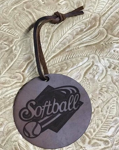 LEATHER CAR SCENTS - SOFTBALL - Coyote Blu