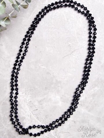 "60"" DOUBLE WRAP BEADED NECKLACE - BLACK - Coyote Blu"