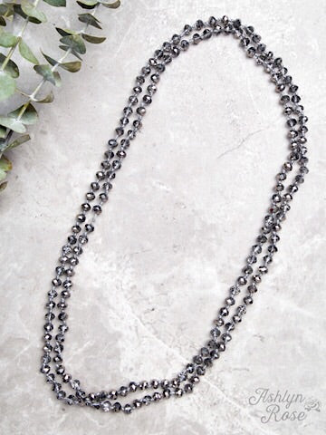 "60"" DOUBLE WRAP BEADED NECKLACE - GRAPHITE - Coyote Blu"