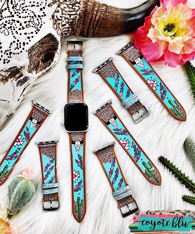 BOHO APPLE WATCH BAND - FEATHER & COWSKULL - Coyote Blu