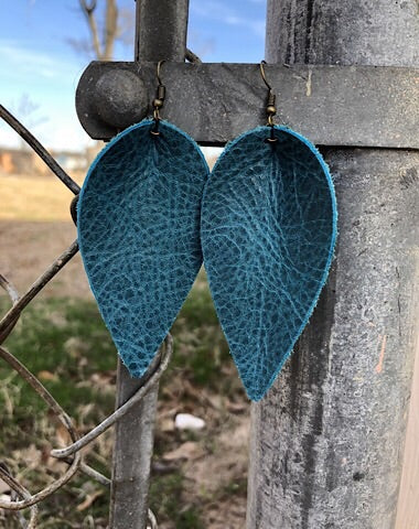 """JOJO"" LEATHER EARRINGS - TEAL - Coyote Blu"