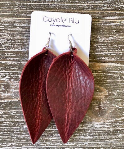 """JOJO"" LEATHER EARRINGS - BURGUNDY - Coyote Blu"