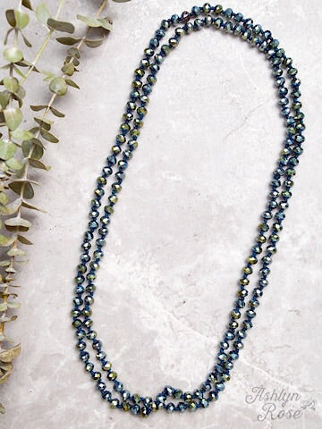 "60"" DOUBLE WRAP BEADED NECKLACE - METALLIC MERMAID - Coyote Blu"