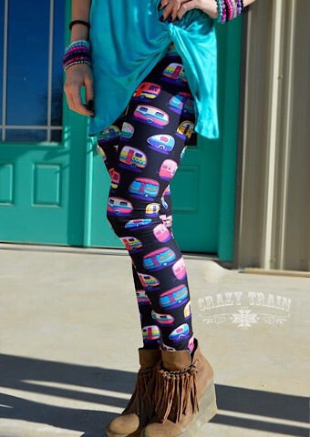 HAPPY CAMPER LEGGINGS - Coyote Blu
