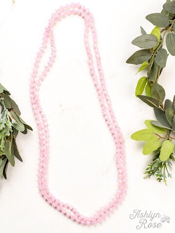 "60"" DOUBLE WRAP BEADED NECKLACE - ROSE QUARTZ - Coyote Blu"
