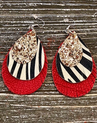 TRIPLE LAYER ZEBRA FRINGE EARRINGS - Coyote Blu