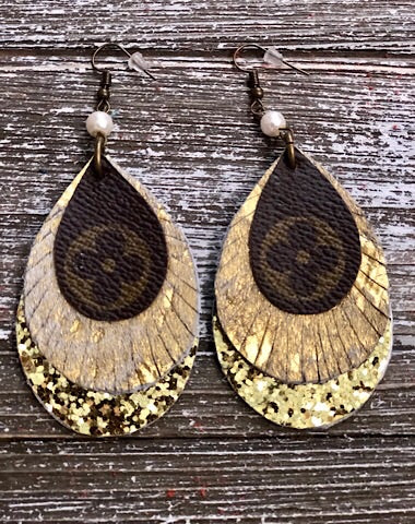 TRIPLE LAYER UPCYCLED LV FRINGE EARRINGS - Coyote Blu
