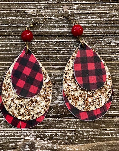 TRIPLE LAYER BUFFALO PLAID FRINGE EARRINGS - Coyote Blu