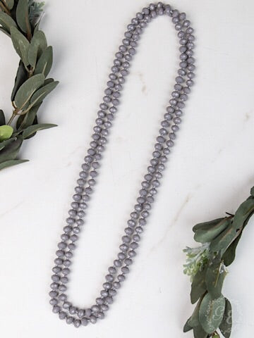 "60"" DOUBLE WRAP BEADED NECKLACE - GRAY - Coyote Blu"
