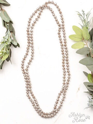 "60"" DOUBLE WRAP BEADED NECKLACE - IRIDESCENT TAUPE - Coyote Blu"