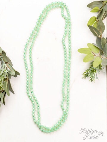 "60"" DOUBLE WRAP BEADED NECKLACE - IRIDESCENT MINT - Coyote Blu"