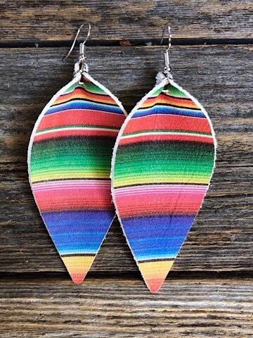 """JOJO"" LEATHER EARRINGS - SERAPE - Coyote Blu"