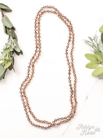 "60"" DOUBLE WRAP BEADED NECKLACE - METALLIC ROSE GOLD - Coyote Blu"