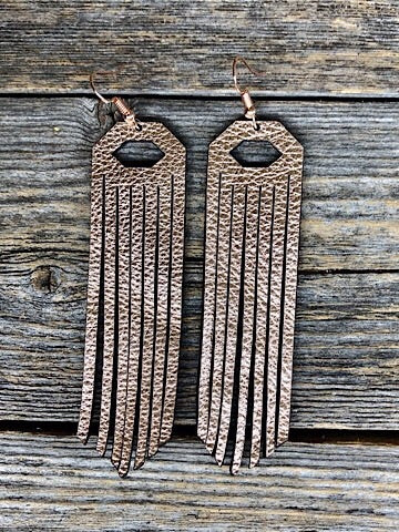 LEATHER FRINGE EARRINGS - ROSE GOLD - Coyote Blu