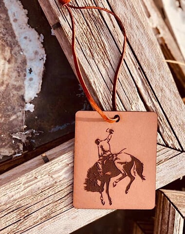 LEATHER CAR SCENTS - BUCKING BRONC - Coyote Blu